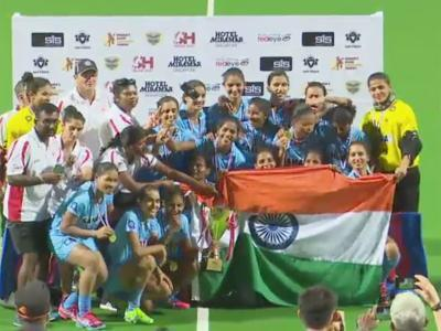 The victorious Indian women's hockey celebrate their Asian Champions Trophy triumph on Saturday