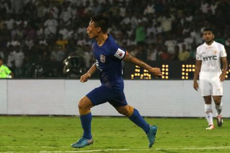 Mumbai City FC's Jaikichand Singh celebrates his goal against NEUFC during their ISL match in Guwahati on Saturday