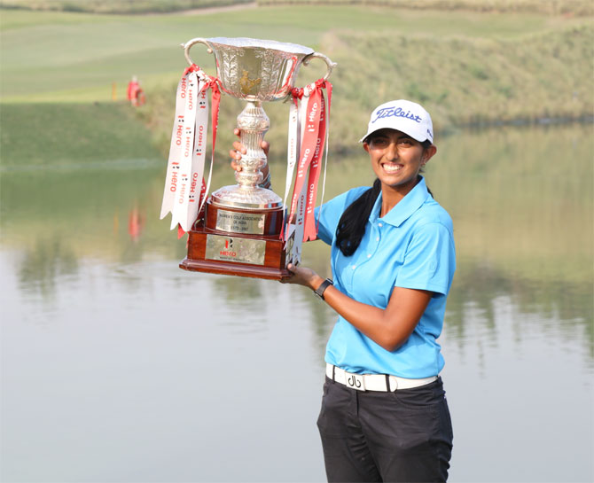 Aditi Ashok with the Indian Open trophy in Gurgaon on Sunday