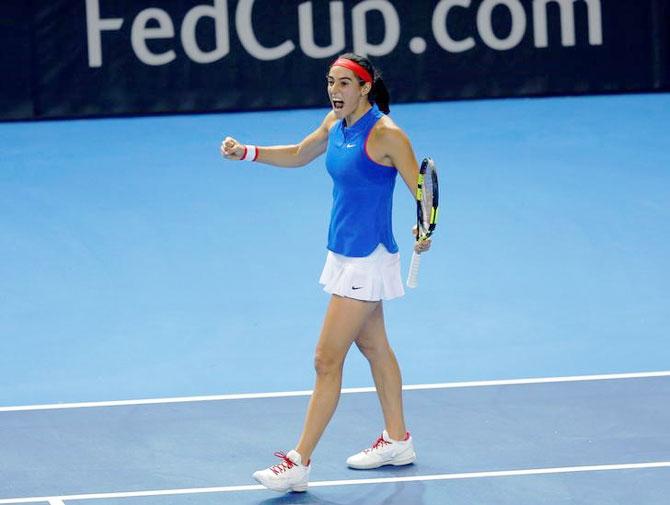 France's Caroline Garcia celebrates her victory against Czech Republic's Petra Kvitova on Saturday