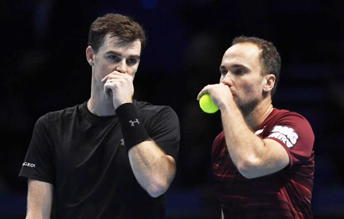 Britain's Jamie Murray and his doubles partner Brazil's Bruno Soares at the ATP World Tour Finals match on Friday
