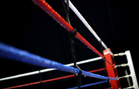 A detailed view of the ring during day one of the Boxing Elite National Championships at Echo Arena
