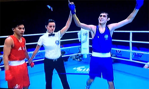 A video grab shows India's Sachin Singh declared winner of the gold medal bout against Cuba's Jorge Grinan at the Youth World Boxing Championships in St. Petersburg, Russia, on Saturday