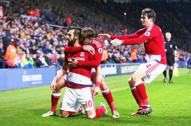 Middlesbrough's Alvaro Negredo celebrates after scoring their second goal against Leicester City during their Premier League match at The King Power Stadium in Leicester on Saturday