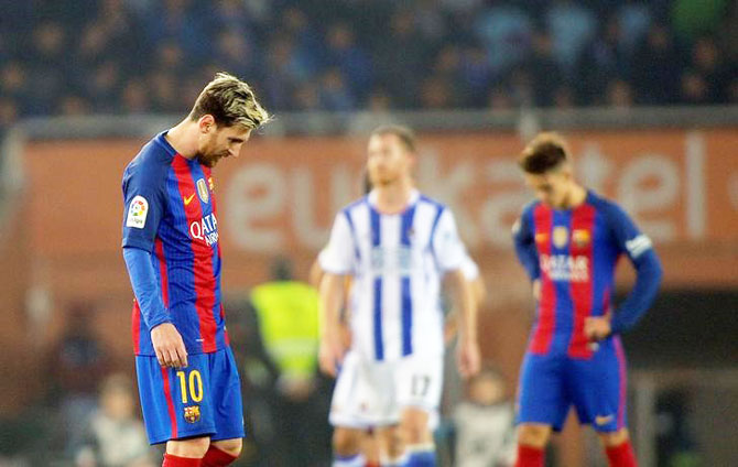 Barcelona's Lionel Messi reacts after the match against Real Sociedad at Estadio Anoeta, San Sebastian, Spain on Sunday
