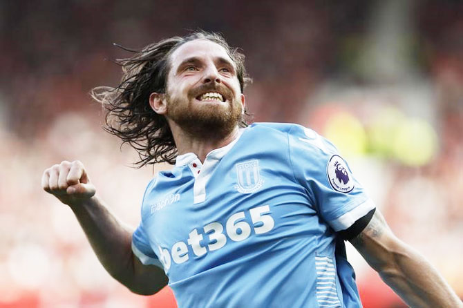 Stoke City's Joe Allen celebrates scoring against Manchester United at Old Trafford on Sunday