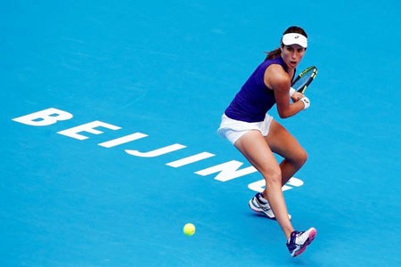 Britain's Johanna Konta plays against Madison Keys of the U.S. in the China Open on Saturday