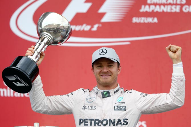 Nico Rosberg celebrates after winning the Japanese Grand Prix earlier this year