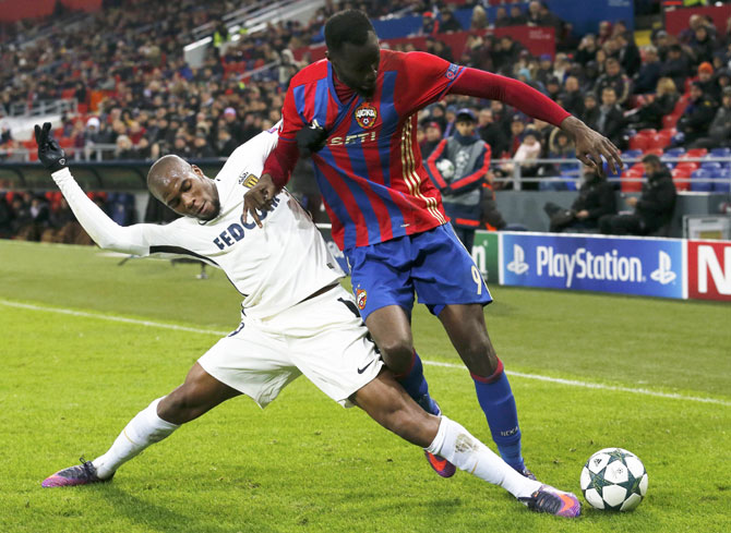 CSKA Moscow's Lacina Traore and Monaco's Djibril Sidibe vie for the ball during their UEFA Champions League, Group E match at CSKA Stadium, Moscow