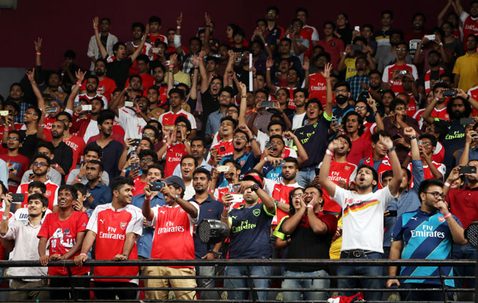 The auditorium at the NSCI was packed as Arsenal fans came to catch a glimpse of their hero