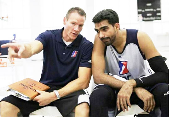 India's Palpreet Singh (right) with one of the scouts