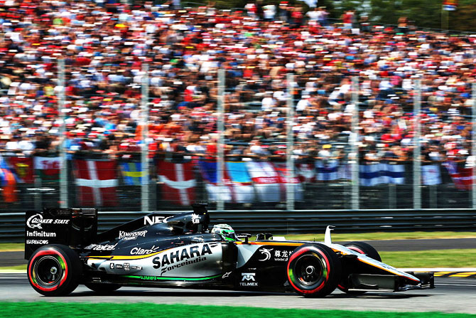 Force India's Nico Hulkenberg of Germany drives the (27) Sahara Force India F1 Team VJM09 Mercedes PU106C Hybrid turbo on track in Monza