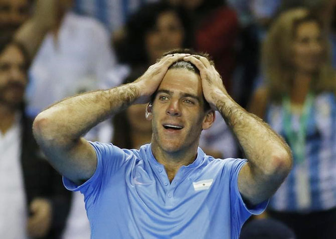 Rediff Sports - Cricket, Indian hockey, Tennis, Football, Chess, Golf - Davis Cup: Del Potro sinks Murray in epic tie, Argentina take 2-0 lead