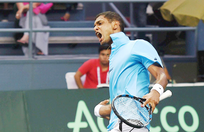 India's Ramkumar Ramanathan celebrates a point against Feliciano Lopez