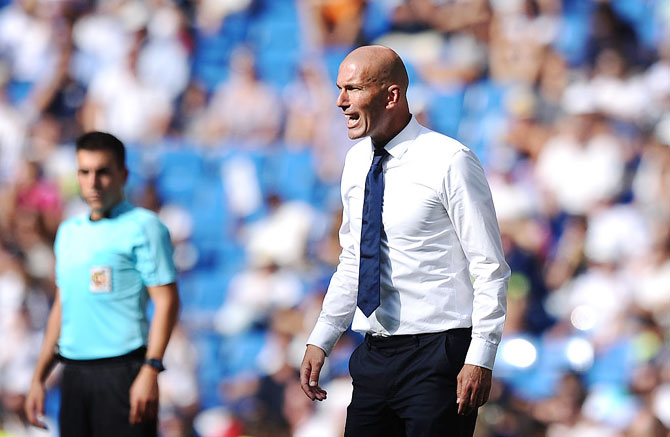 Real Madrid manager Zinedine Zidane shouts instructions during a La Liga match