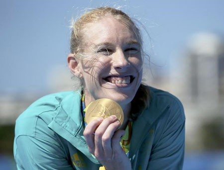 Australian rower Kim Brennan poses with her gold medal