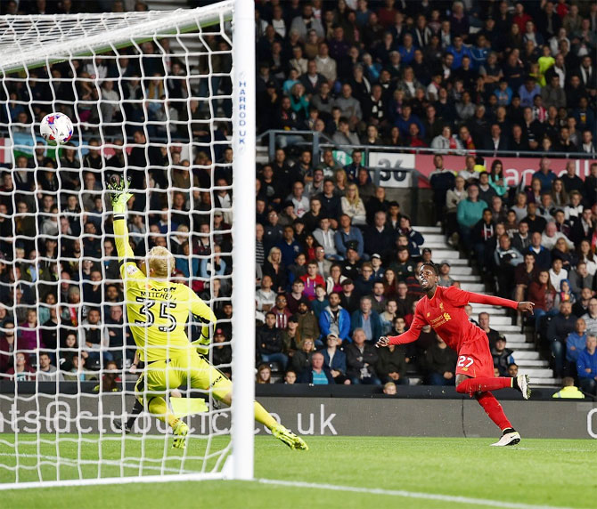 Liverpool's Divock Origi nets one past Derby County 'keeper Jonathan Mitchell