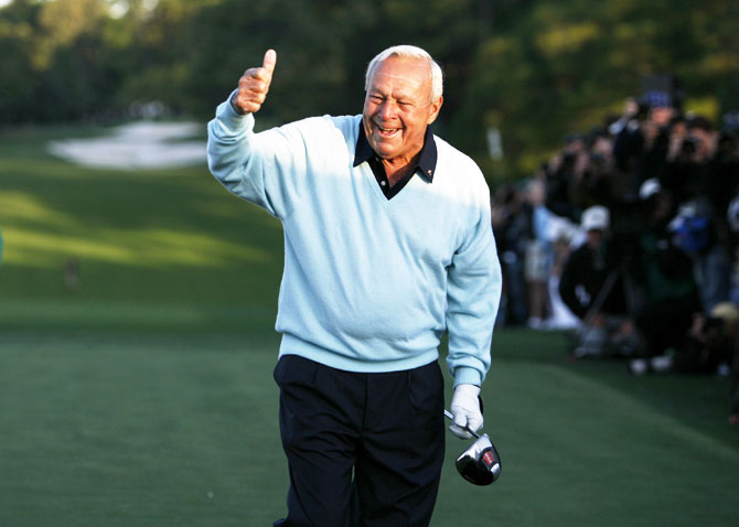 Arnold Palmer gestures after hitting a drive to begin the 2007 Masters golf tournament on the first tee at the Augusta National Golf Club in Augusta, Georgia, US on April 5, 2007