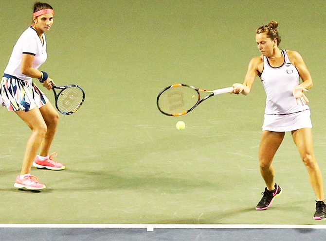 Sania Mirza and her doubles partner Czech Republic's Barbora Strycova