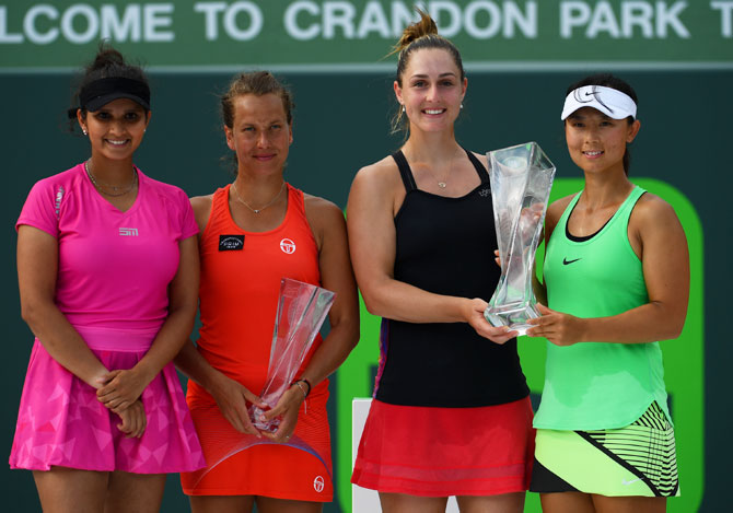 Rediff Sports - Cricket, Indian hockey, Tennis, Football, Chess, Golf - Sania-Strycova stunned by unseeded Dabrowski-Yifan in Miami Open final