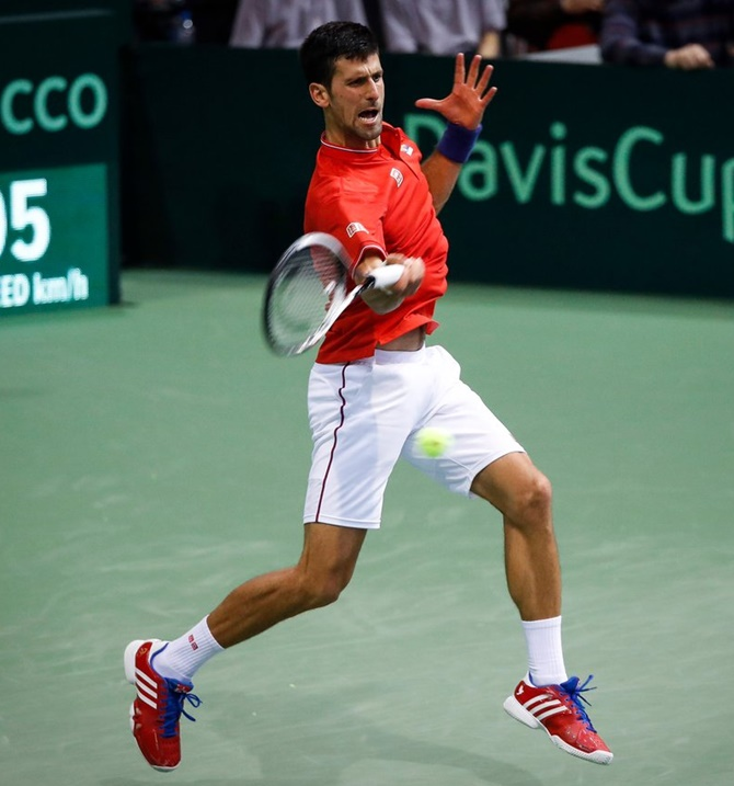Rediff Sports - Cricket, Indian hockey, Tennis, Football, Chess, Golf - Davis Cup: Djokovic helps Serbia take 2-0 lead over Spain in quarters