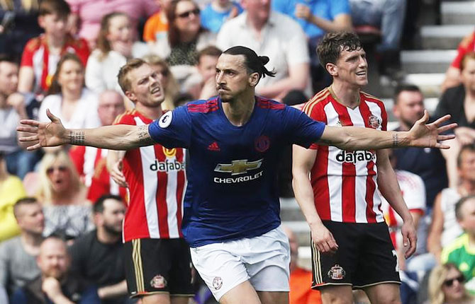 Manchester United's Zlatan Ibrahimovic celebrates scoring their first goal against Sunderland during their English Premier League match at the Stadium of Light on Sunday