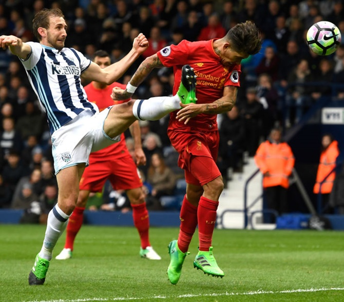 Roberto Firmino of Liverpool scores his side's first goal during the Premier League match against West Bromwich Albion