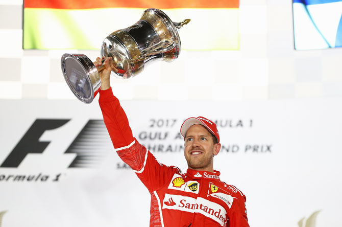 After cruising to victory in the Bahrain GP, Ferrari driver Sebastian Vettel says 'I'm really enjoying it, the car has been a pleasure'