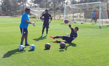 Players of India's under-17 team at a practice session in Portugal on Sunday