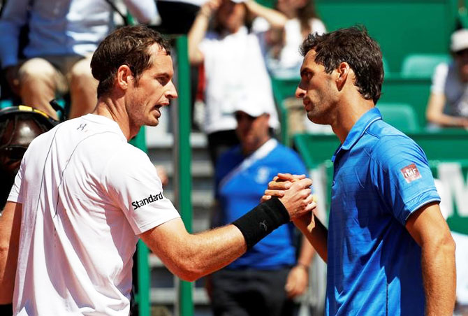 Spain's Albert Ramos-Vinolas (right) is congratulated by Britain's Andy Murray after their match at the Monte Carlo Masters on Thursday