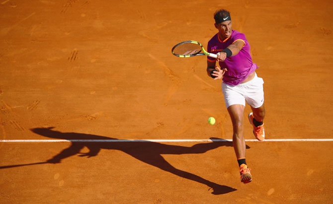 Spain's Rafael Nadal plays a forehand against Germany's Alexander Zverev in his third round match of the Monte Carlo Rolex Masters at Monte-Carlo Sporting Club in Monte-Carlo, Monaco, on Thursday