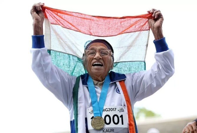 Dubbed the 'Miracle from Chandigarh' Man Kaur took up running at the tender age of 93 and has ever since been competing on the international masters games circuit