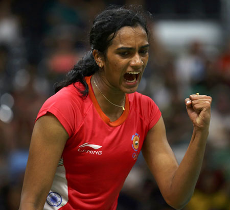 Rediff Sports - Cricket, Indian hockey, Tennis, Football, Chess, Golf - Sindhu sails into quarter-finals with another easy win