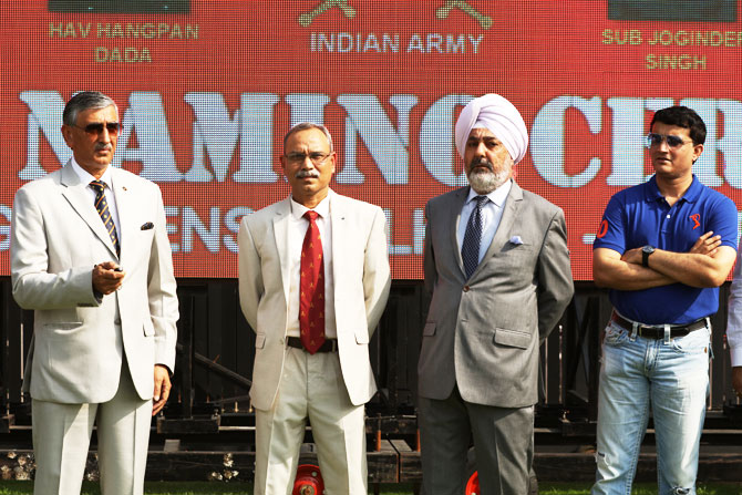 CAB president Sourav Ganguly with Indian Army Personnel at the unveiling ceremony at Eden Gardens in Kolkata on Friday
