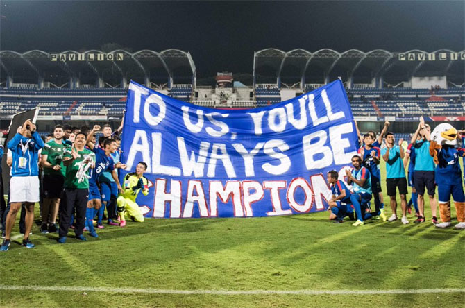Fans of Bengaluru FC give a special shout out to the team on Saturday