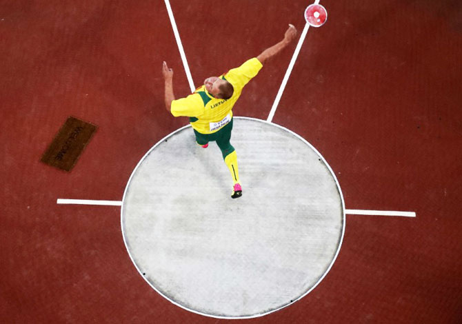 Andrius Gudžius of Lithuania in action before winning Gold in the Discus Throw final
