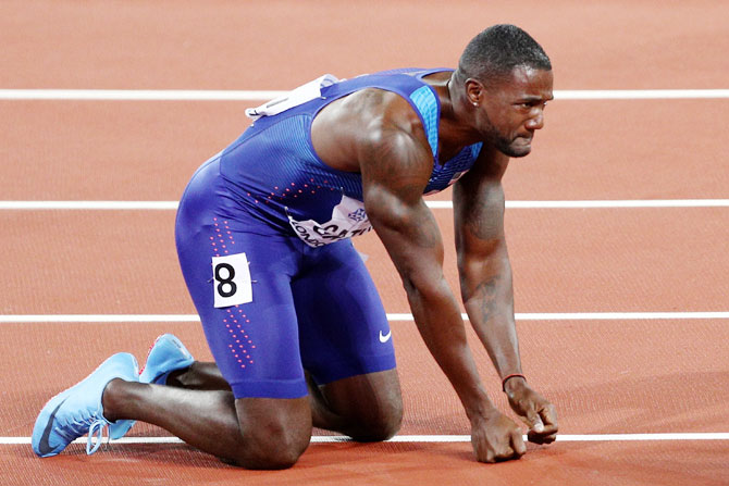 Justin Gatlin of the United States celebrates following his win in the Men's 100 metres final in 9.92 seconds at the 16th IAAF World Athletics Championships at The London Stadium in London on Saturday