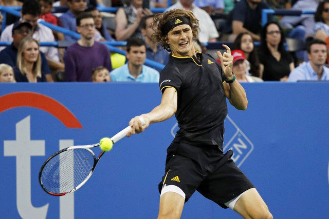 Germany's Alexander Zverev hits a forehand against Japan's Kei Nishikori in the Citi Open men's singles semi-final at Fitzgerald Tennis Center