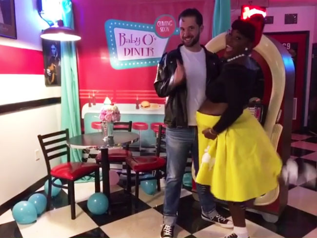 Parents-to-be, Alexis Ohanian and Serena Williams strike a pose