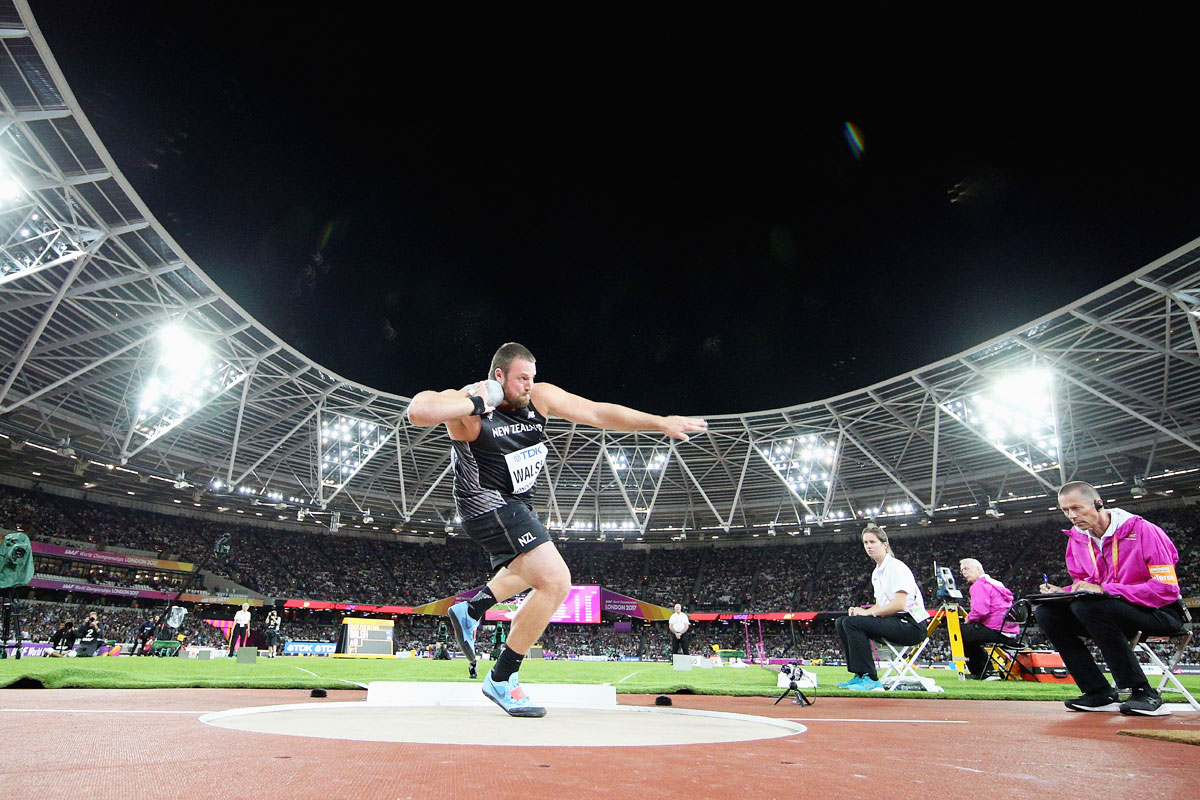 Tomas Walsh of New Zealand competes in the Men's Shot Put final on Sunday