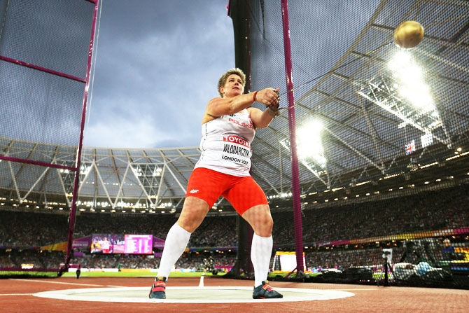 Anita Wlodarczyk of Poland competes in the Women's Hammer final