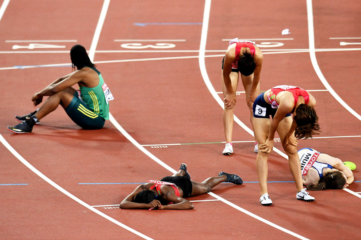 Athletes react after the Women's 1500 metres final at the 16th World Athletics Championships in London on Monday