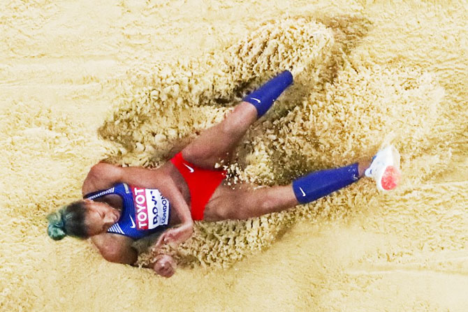 Yulimar Rojas of Venezuela competes in the women's triple jump final on Monday
