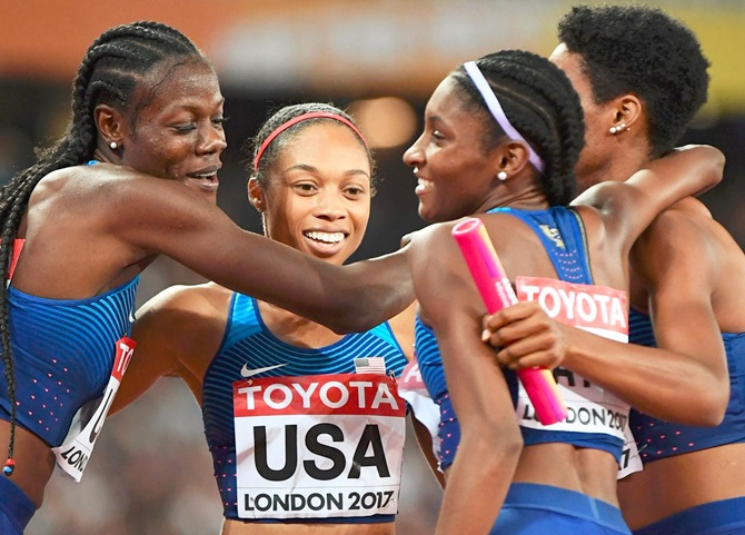 Rediff Sports - Cricket, Indian hockey, Tennis, Football, Chess, Golf - World Athletics PIX: US reclaim 4x400m title, more injury woe for Jamaica