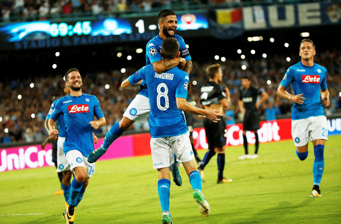 Rediff Sports - Cricket, Indian hockey, Tennis, Football, Chess, Golf - Champions League: Napoli beat nine-man Nice; Celtic thump Astana