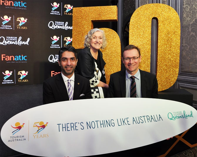 Olympian  Abhinav Bindra, Managing Director at Tourism Australia, John O'Sullivan and CEO, Tourism & Events, Queensland Leanne Coddington at the announcement of 50 Years of Tourism Australia and program for the Gold Coast 2018 Commonwealth Games in Mumbai on Monday