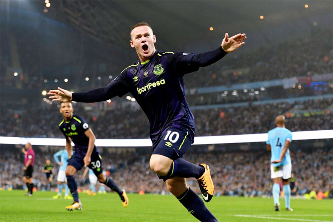 Everton's Wayne Rooney celebrates on scoring his 200th EPL goal against Manchester City