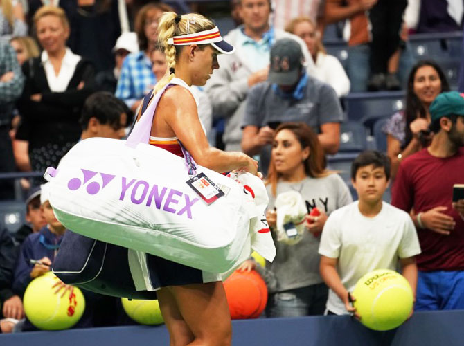 Germany's Angelique Kerber leaves the court after losing to Japan's Naomi Osaka at Ashe Stadium on day two of the US Open at the USTA Billie Jean King National Tennis Center on Tuesday