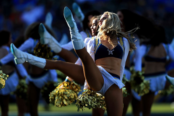 The Charger Girls perform during the NFL game between the Los Angeles Chargers and Cleveland Browns at StubHub Center in Carson, California, on Sunday
