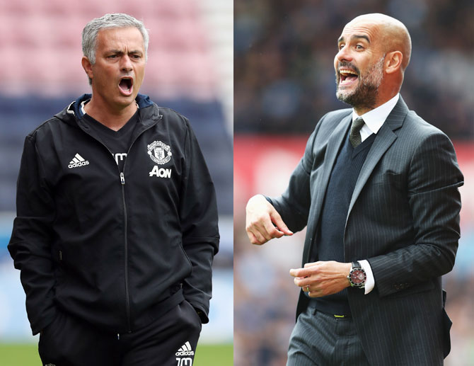 Manchester United manager Jose Mourinho (left) and Manchester City manager Pep Guardiola (right) carry forward their famed rivalry when the neighbouring clubs clash on Sunday